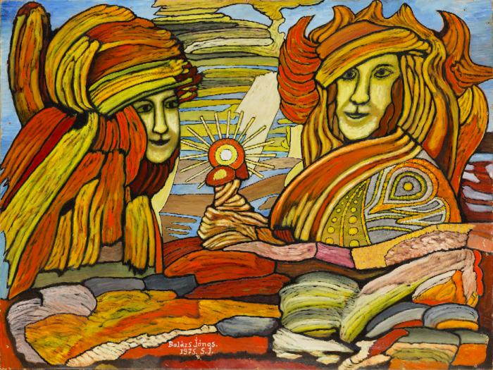 Balázs János Galéria Roma Polgárjogi Mozgalom MRPE A szerelmespár - 1975- című képe